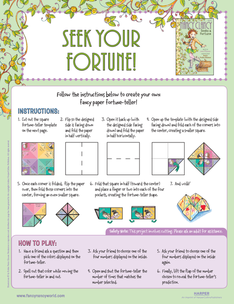picture relating to Printable Fortune Teller identified as Find Your Fortune! Printable Craft Extravagant Nancy Printable