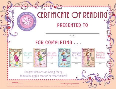 Certificate of Reading – Printable Reading Activity