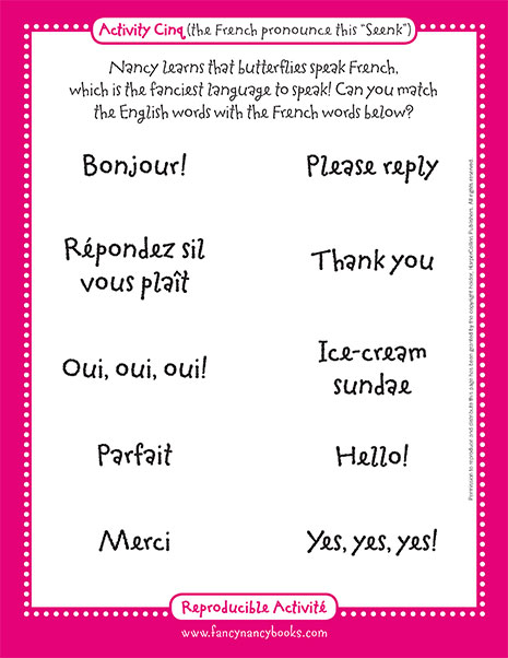 French Phrases – Printable Game