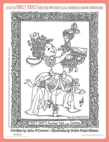 Fancy Nancy and Marabelle Lavinia Chandelier  – Printable Coloring Sheet