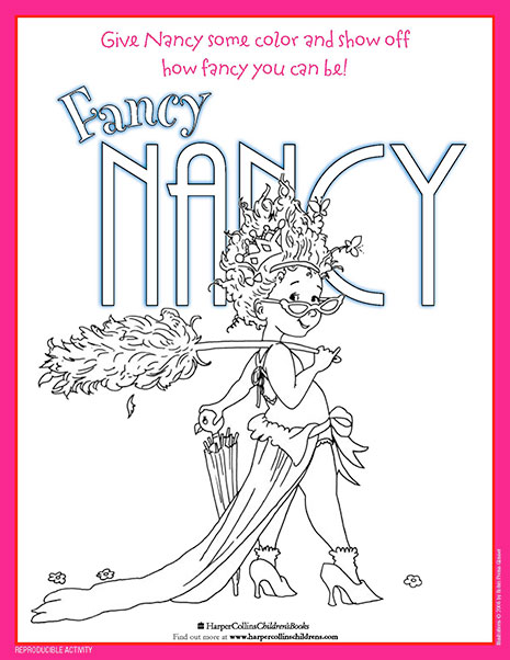 A Colorful Fancy Nancy – Printable Coloring Sheet