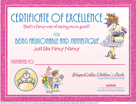 Certificate of Excellence – Printable Reading Activity