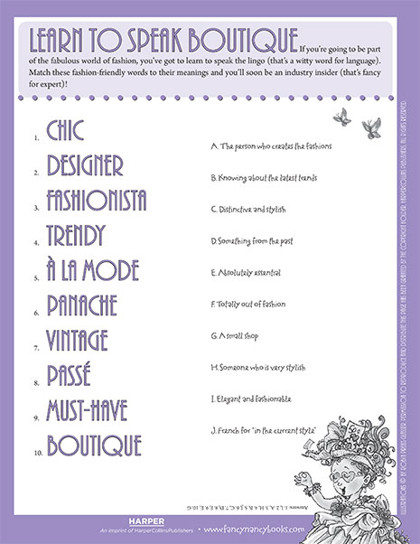 Learn to Speak Boutique – Printable Game