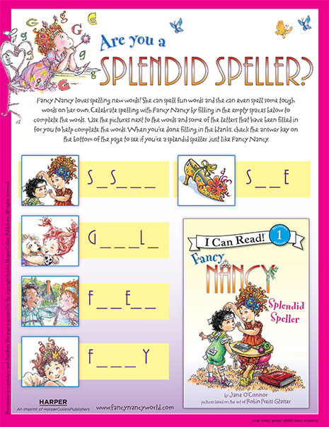 Splendid Speller – Printable Reading Activity