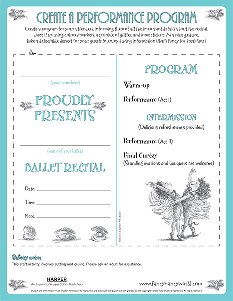 Performance Program – Printable Craft Activity