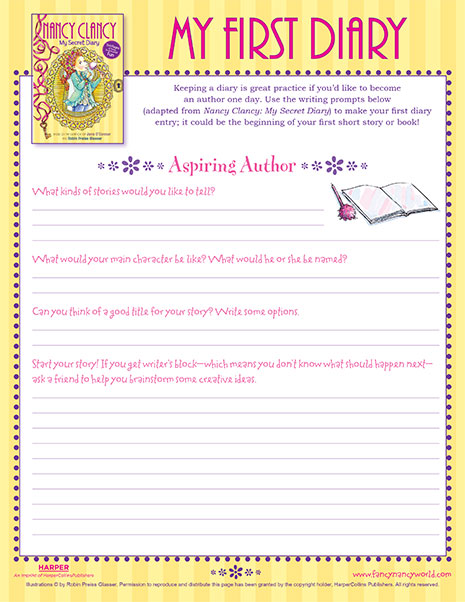 My First Diary – Printable Reading Activity | Fancy Nancy Printable ...