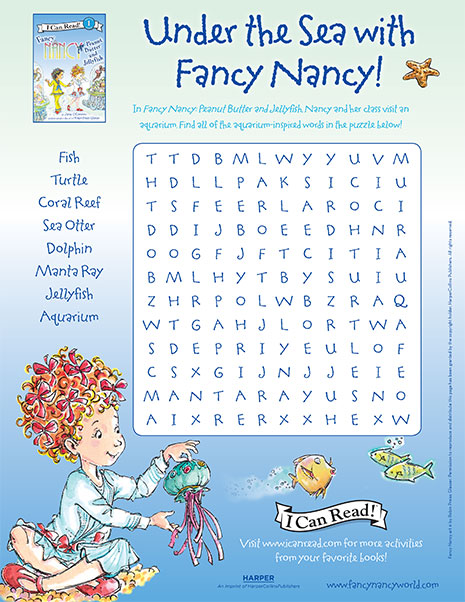 Under the Sea with Fancy Nancy – Printable Word Search