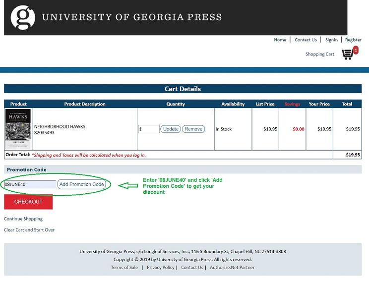 Screen capture of UGA Press website shopping cart