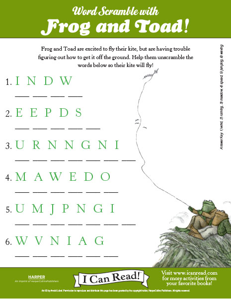 Word Scramble with Frog and Toad