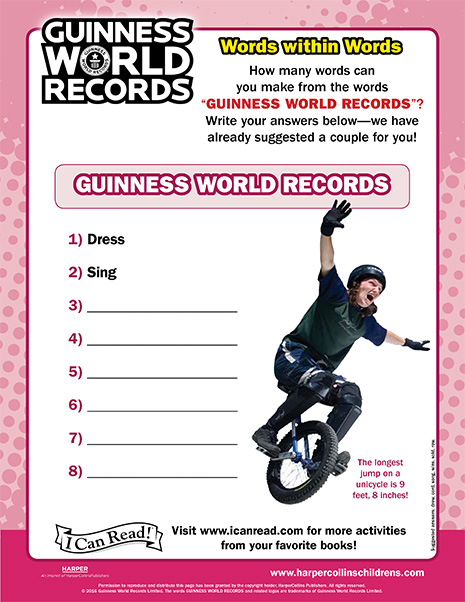 Guinness World Records: Words within Words