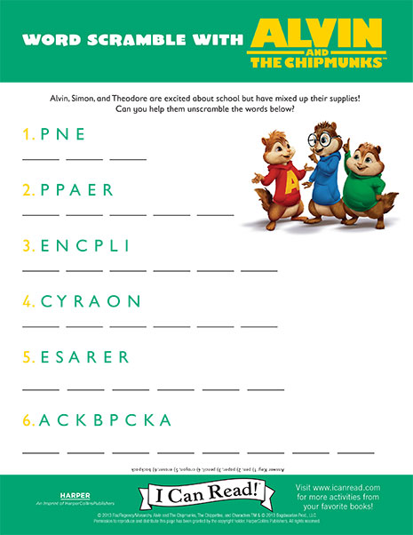 Word Scramble with Alvin and the Chipmunks