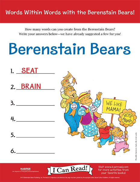 Words within Words with the Berenstain Bears