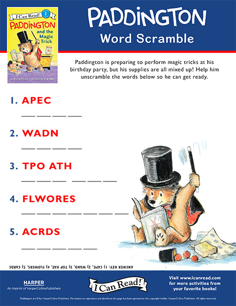 Paddington Word Scramble