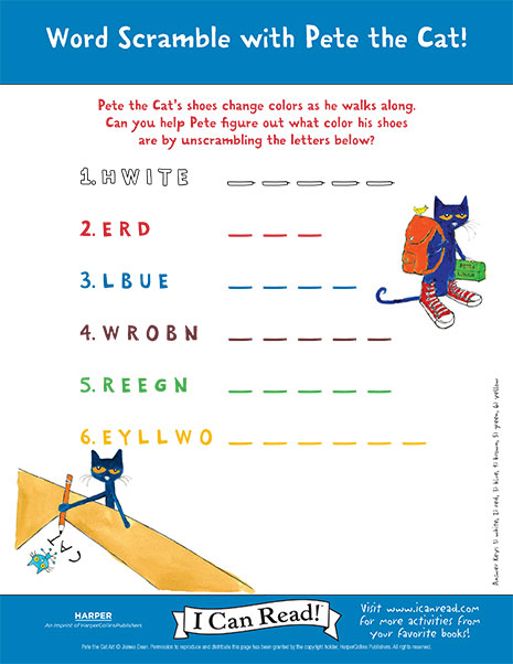 Word Scramble with Pete the Cat