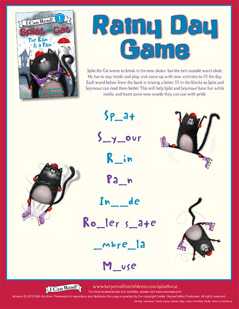 Splat the Cat Rainy Day Game