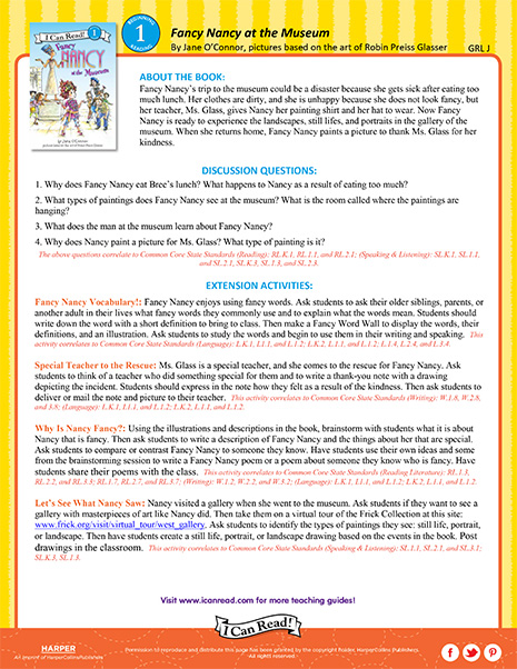 Fancy Nancy at the Museum – Teacher's Guide