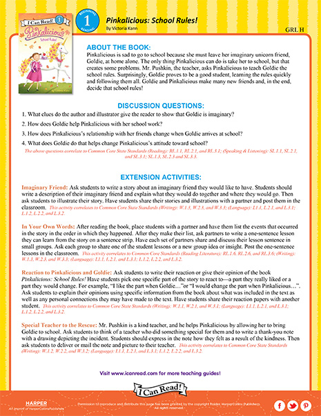 Pinkalicious: School Rules – Teacher's Guide