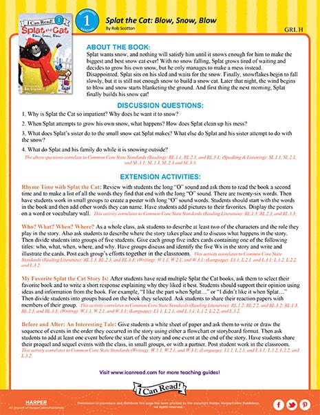 Splat the Cat: Blow, Snow, Blow – Teacher's Guide
