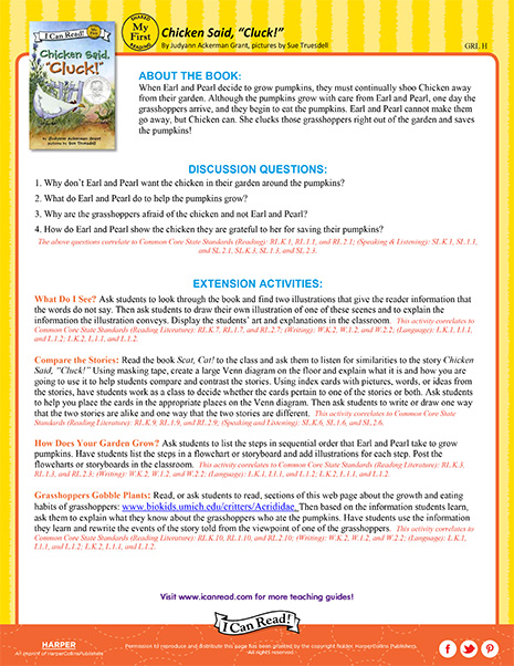 Chicken Said Cluck – Teacher's Guide