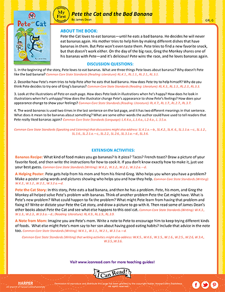 Pete the Cat and the Bad Banana – Teacher's Guide