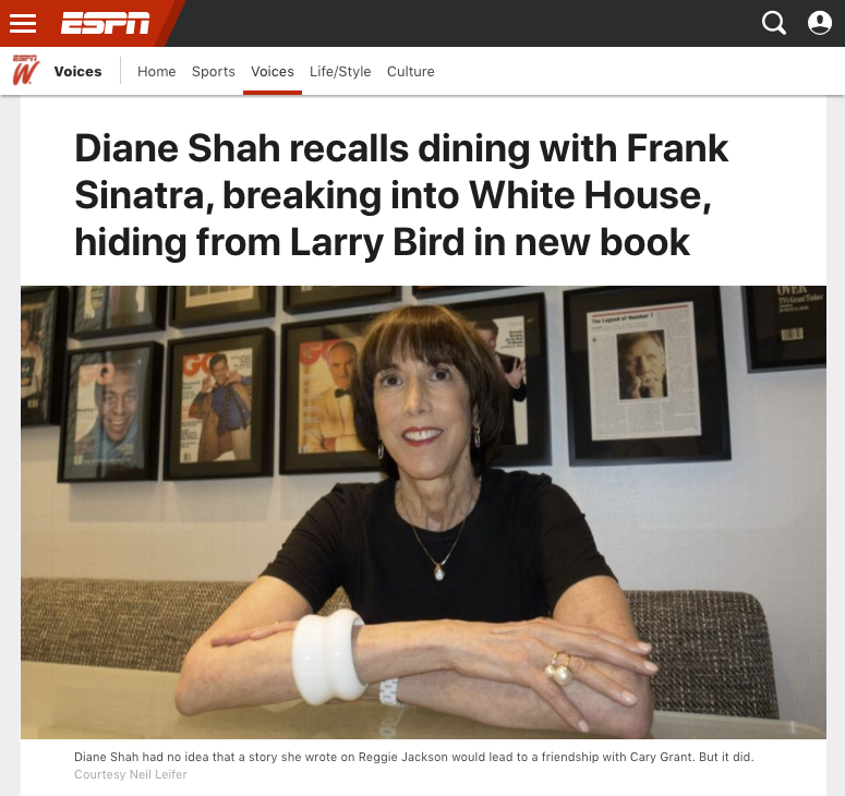 Diane Shah, author of A Farewell to Arms, Legs and Jockstraps, featured in ESPN Magazine