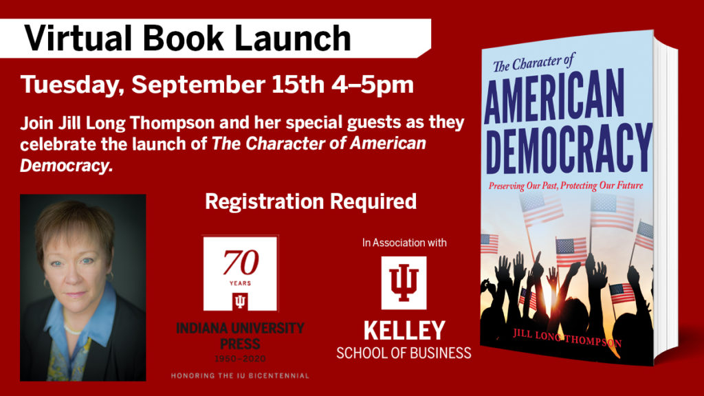 The Character of American Democracy Virtual Book Launch on September 15, 2020 at 4:00pm EST