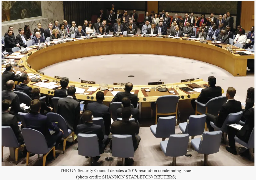 THE UN Security Council debates a 2019 resolution condemning Israel
