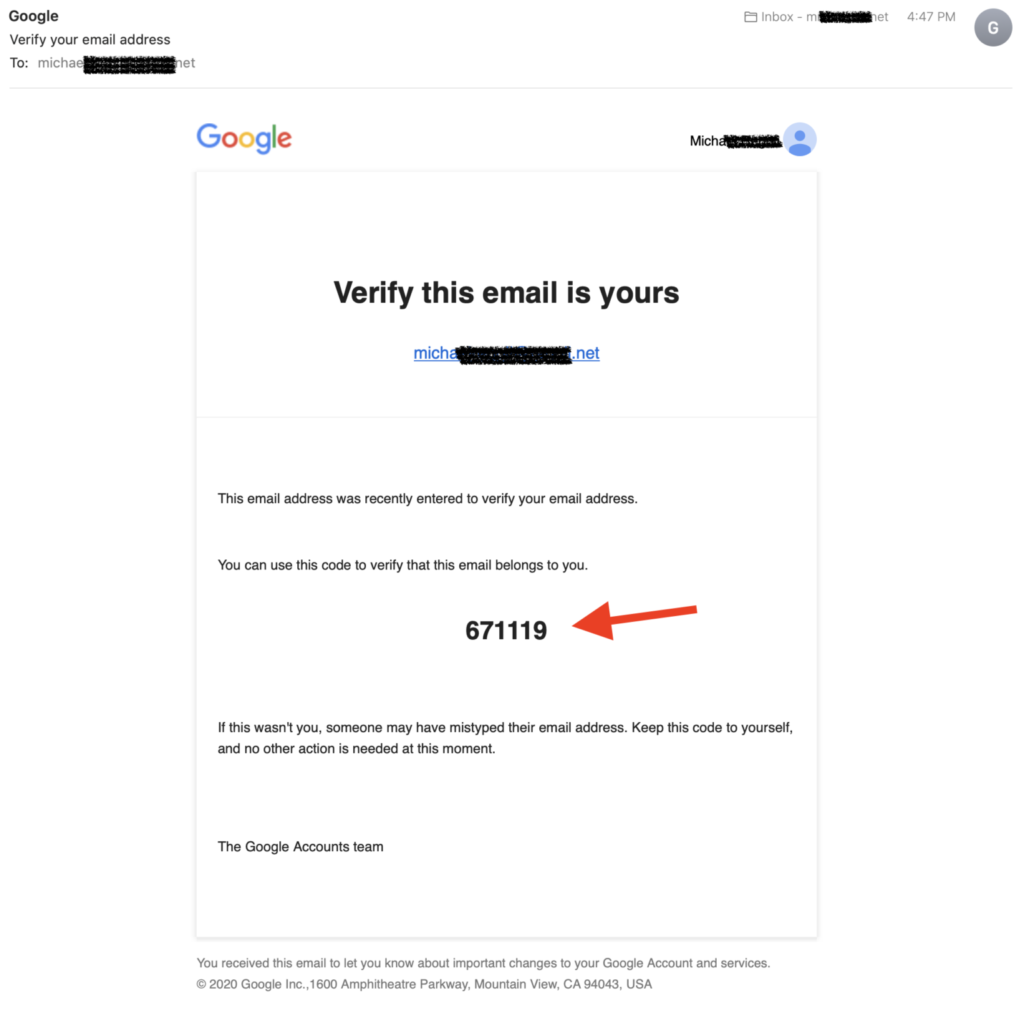 Google Mail containg Verification Code