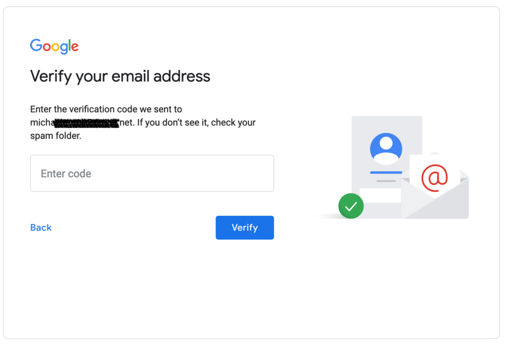Google Account Email Verification