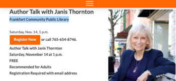 Author Talk with Janis Thornton hosted by Frankfort Community Public Library