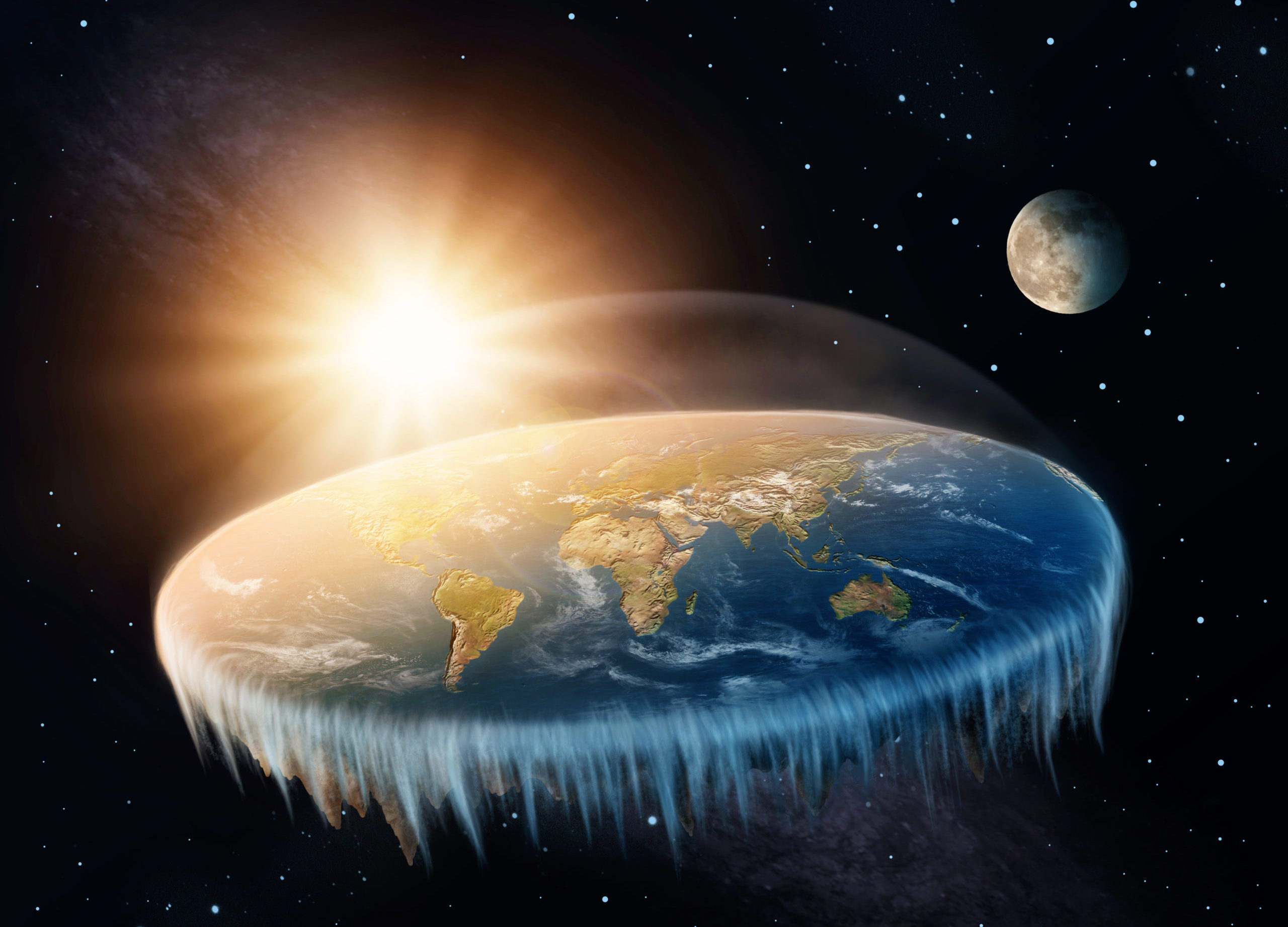 flat earth sun and moon