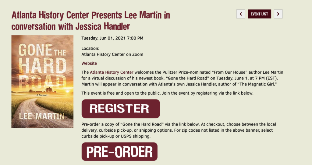 Atlanta History Center Presents Lee Martin in conversation with Jessica Handler