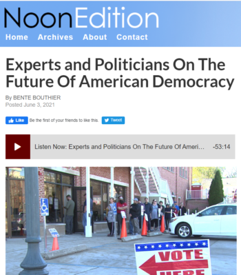 The Character of American Democracy featured in NPR Indiana