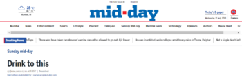 Cheers featured in Mumbai Mid-Day newspaper