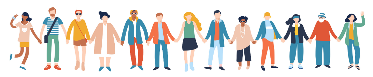 diverse people holding hands