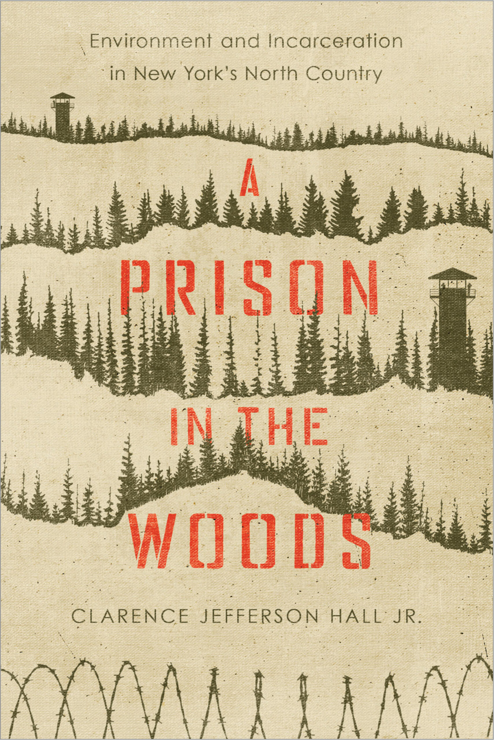 book cover, trees and prison tower