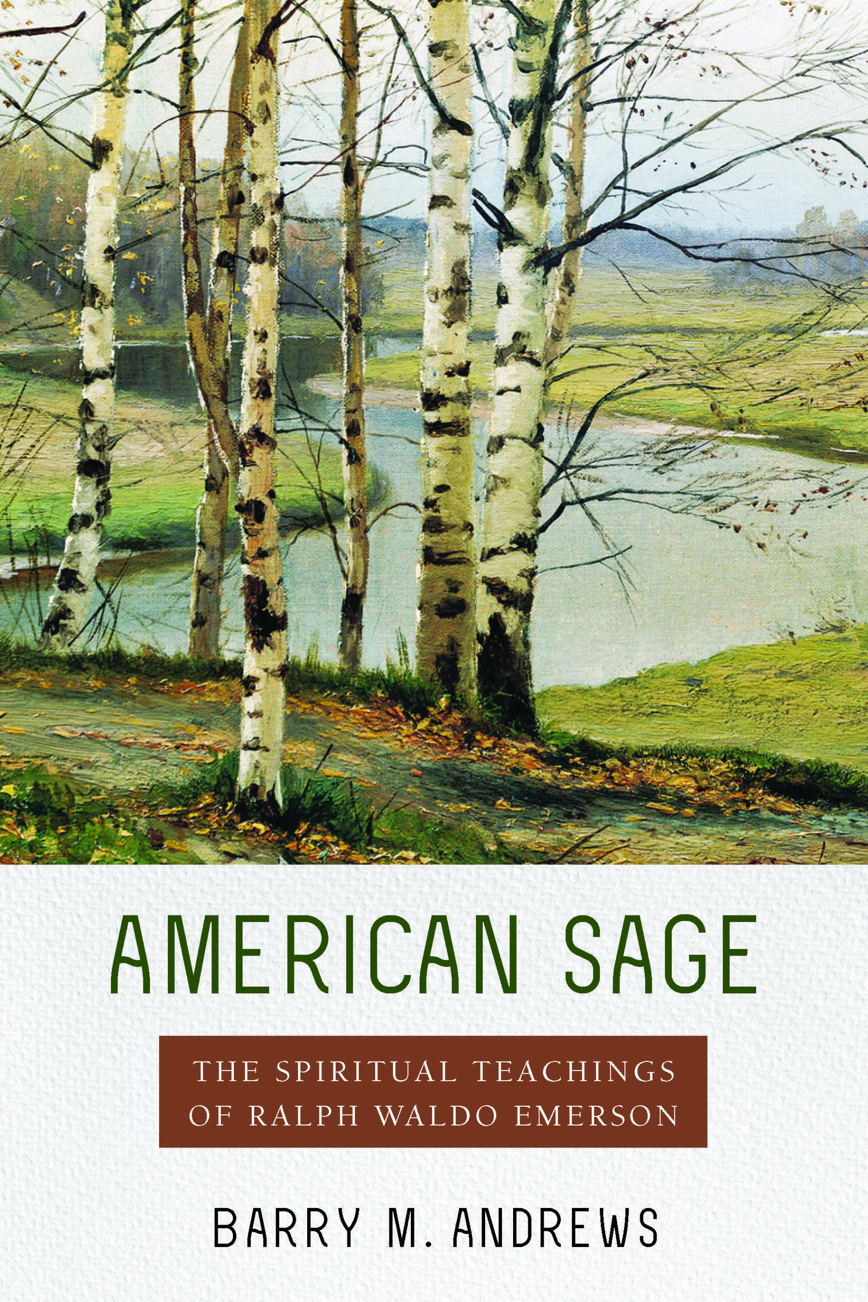 book cover with painting of birch trees