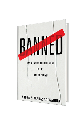 Cover of Banned, white wrinkled paper background with text: BANNED at top in black with a red diagonal line crossing through it. Subtitle and byline underneath in black.