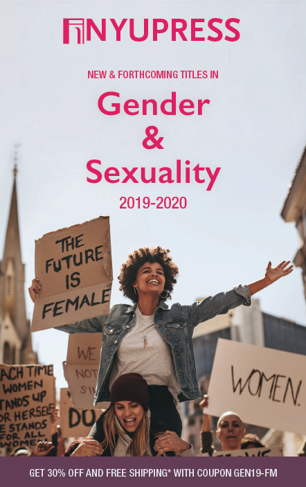 cover of gender & sexuality studies 2019 catalog, a black woman sits on the shoulders of a white woman at a protest march with picket signs in their hands