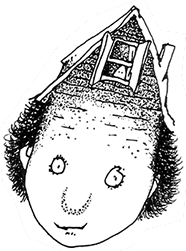 This is a picture of a boy with an attic on his head.