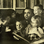 This is a black and white photograph of Shel Silverstein reading to children..