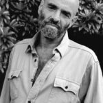 This is a black and white photograph of Shel Silverstein.