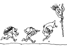 This is a picture of three characters running and one character jumping.