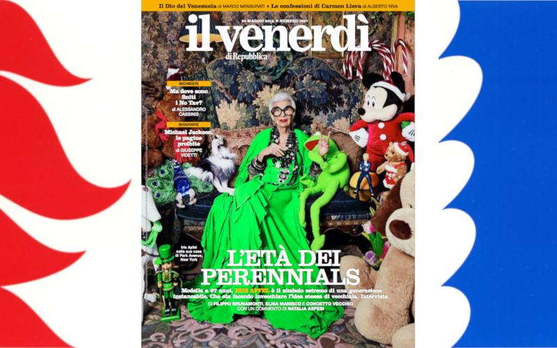 """Iris Apfel sulla copertina del """"Venerdì di Repubblica"""""""