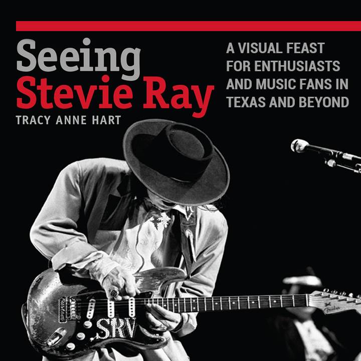 Marketing image for book that shows Stevie Ray Vaughan playing the guitar in concert