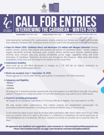 Call for Entries – Interviewing the Caribbean – Winter 2019
